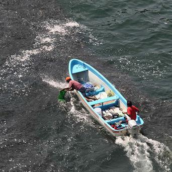 A fisherman uses a plastic bag to catch fish as a large school swims near the coast of Acapulco, Mexico