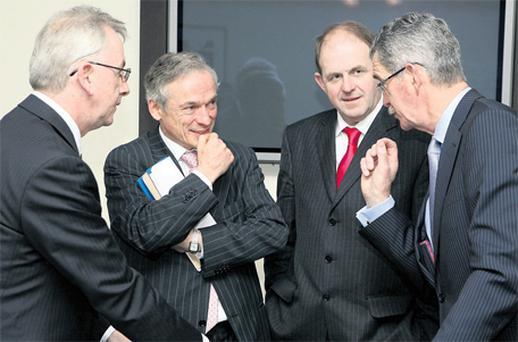 From left, Damien Callaghan, investment director, Intel Capital; Enterprise, Jobs and Innovation Minister Richard Bruton; Enterprise Ireland chief executive Frank Ryan; and Altobridge chairman Dick Spring at the announcement of a $12m investment in Altobridge