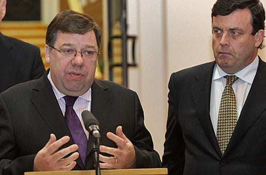 Brian Cowen and Brian Lenihan during a press conference in December 2009 when the pair were Taoiseach and Finance Minister respectively. Mr Lenihan has criticised Mr Cowen for his