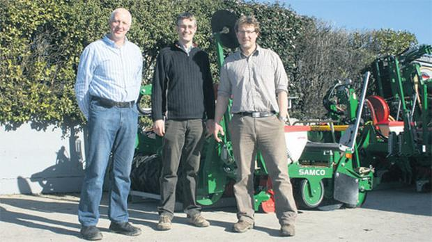 Sam Shine, left, and sons Robert and Gordon developed their plastic-covered maize-sowing technique with the creation of the Samco 3-in-1 in 1998, and the business now employs 16 people with a €7m turnover