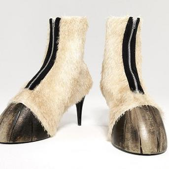 Shoes styled like horses' hooves are going on sale at the Cheltenham Festival