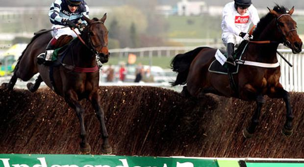 Captain Chris ridden by Richard Johnson (L) wins the Irish Independent Arkle Challenge Trophy ahead of Finian's Rainbow ridden by Barry Geraghty. Photo: Getty Images