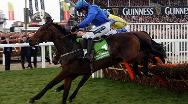 Hurrican Fly ridden by Ruby Walsh clears the last to win the Stan James Champion Hurdle Challenge Trophy during Centenary Day at Cheltenham Racecourse. Photo: PA