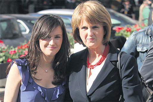 Minister for Social Protection Joan Burton with her daughter Aoife Carroll