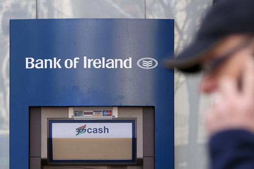 Shares in Bank of Ireland fell 3.5pc to 30 cent each. Photo: Getty Images