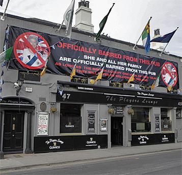 The banner at the Players Lounge in Fairview near Dublin city centre. Photo: PA