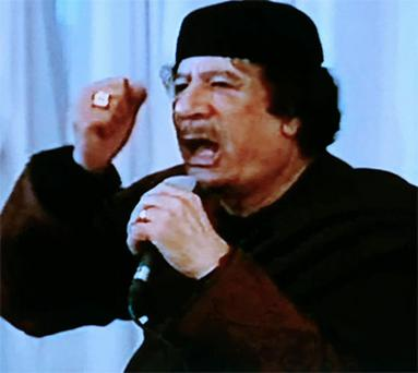 Libya's leader Muammar Gaddafi during a live broadcast on state television in Tripoli. Photo: Reuters