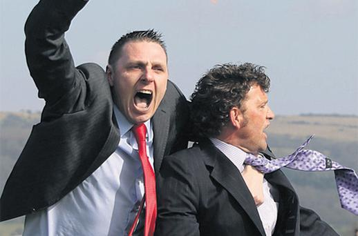 Trainer Paul Nolan celebrates as Noble Prince wins at Cheltenham yesterday