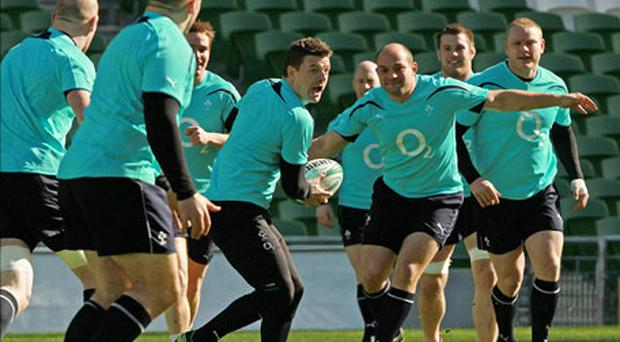 Brian O'Driscoll (centre) during the Captain's Run at the Aviva Stadium. Photo: PA