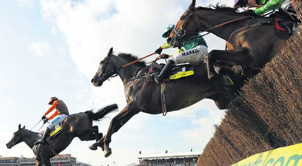 Long Run lands ahead of Denman and Kauto Star to win the Gold Cup