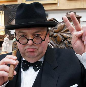 Sir Winston Churchill impersonator Derek Herbert, who bid for a pair of reading glasses once owned by the former prime minister