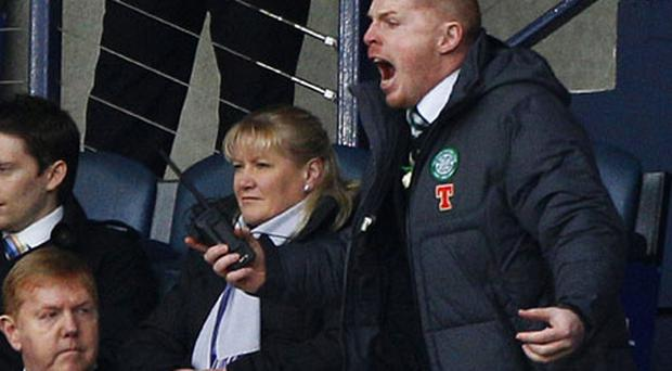 Celtic manager Neil Lennon shouts to his players from the Hampden Park stand. Photo: Reuters