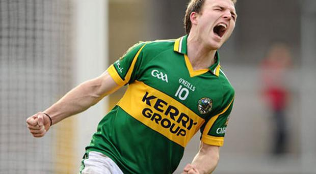 Kerry's Darran O'Sullivan celebrates his goal against Armagh yesterday