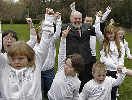 Senator David Norris helps launch the I'm Able 2 Model agency representing people with Down syndrome at St Stephen's Green in Dublin. Photo: PA
