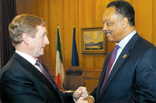 Taoiseach Enda Kenny and Jesse Jackson in Government Buildings yesterday