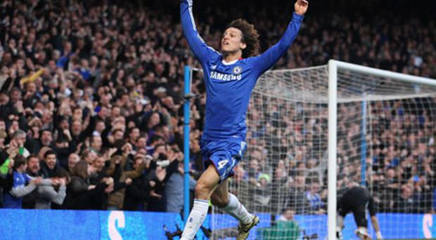 Luiz celebrates after scoring their first against Man City. Photo: Getty Images