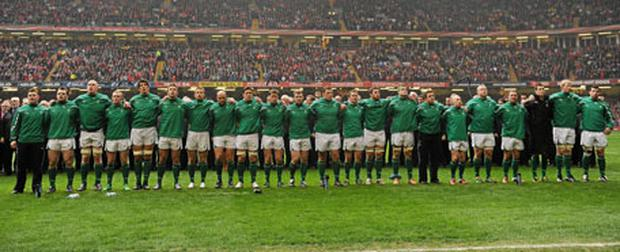 Ireland players line up for the anthem before the Wales game in Cardiff.