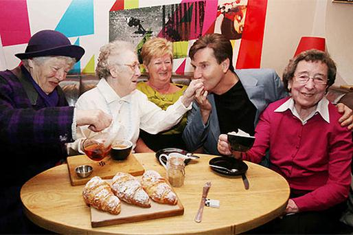 Daniel O'Donnell with fans Mary Lynch, Beatrice Muldoon, Dolores Weldon and Phyllis Lynch at the Hearing Awareness Week launch, Dublin
