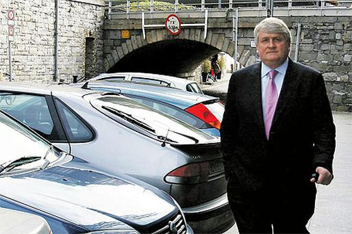 Denis O'Brien arriving at his office in Dublin yesterday