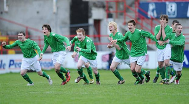 De La Salle Waterford players celebrate after their penalty kick shoot-out victory over St Patrick's Cavan in the FAI Schools Dr Tony O'Neill Senior Cup final at Tolka Park yesterday. Photo: Barry Cregg / Sportsfile