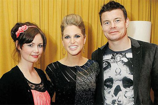 IFTA award-winning actress Amy Huberman (centre) with husband Brian O'Driscoll and 'The Clinic' actress Rachel Pilkington at a reception before the gala screening of 'Rewind' in Dundrum Town Centre last night