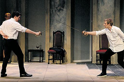 Hamlet actor Conor Madden (right) in a stage sword fight with Aonghus Og McAnally