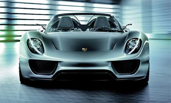The Porsche 918 Spyder hybridzips from a standing start to 100kmh in 3.2 seconds, has a top speed of 320kmh, and Porsche claims it can do as much as 94mpg - but it'll cost you, about €750,000 in fact.