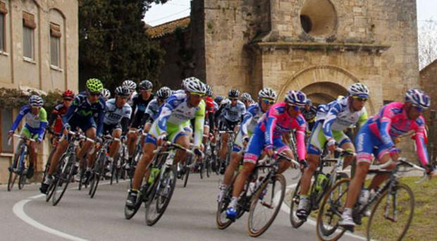 The Lampre team set the pace in the peloton during yesterday's second stage of the Tour of Catalonia race in Banyoles. Photo: Reuters