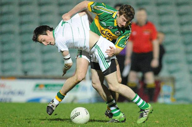 Limerick's Padraig Quinn in action against James O'Donoghue of Kerry during their Munster U-21 FC semi-final at the Gaelic Grounds in Limerick last night. Photo: Diarmuid Greene / Sportsfile
