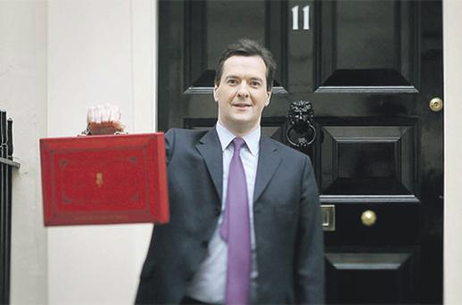 George Osborne announced a cut in fuel duty of 1p a litre, as well as the cancellation of other planned increases. He also raised by £630 (€724) the amount a person can earn without paying tax, a £120 tax cut for most earners