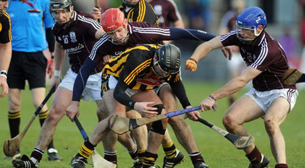 Galway trio Eanna Ryan, Iarla Tannian and Cyril Donnellan in action against JJ Delaney during Galway's recent Allianz NHL victory over Kilkenny.