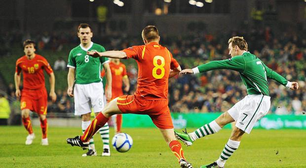 Aiden McGeady gives Ireland the perfect start with a goal in the second minute. Photo: Stephen McCarthy/Sportsfile