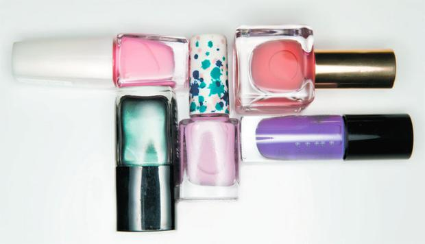 Pictured, clockwise from top right: Estee Lauder Pure Color in Tempting Melon; Andrea Fulerton Nail Boutique Colour in Emma; No7 Stay Perfect Nail Colour in Sugar; Chanel Le Vernis in Black Pearl; IsaDora Graffiti Nail Top in Masterpiece Pink