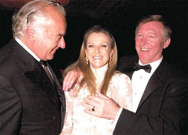 'I have been given the privilege of teaming up with them. Nobody could be blessed with better friends' — Alex Ferguson with, from left, John and Susan Magnier in 2001 before their bitter feud broke out over a horse