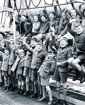 Farewell: A group of young boys leave England for a new life in Australia in 1948