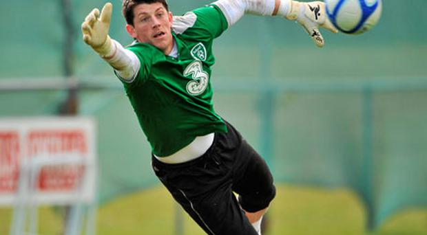 Keiren Westwood is at full stretch as he dives for the ball during yesterday's training session at Gannon Park, Malahide. Photo: David Maher / Sportsfile