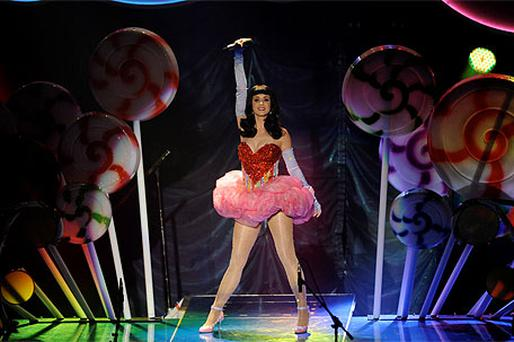 Katy Perry arrives on stage at the O2 arena, Dublin. Photo: Caroline Quinn