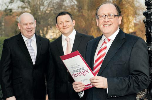 At the SuperValu annual delegate conference in The Malton Hotel, Killarney, yesterday were, from left, sales director Ciaran Levis, group council chairman Alan Condron, and managing director Martin Kelleher