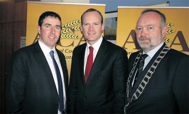 Agricultural Consultants' Association's general secretary Breian Carroll, Agriculture Minister Simon Coveney and ACA president Pat Minnock take a break from the proceedings at their annual Conference at the Red Cow Hotel, Dublin