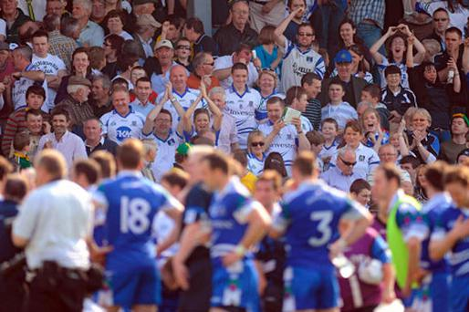 The Monaghan fans celebrate after last year's league match against Kerry. Despite their defeat in Killarney the Farney stayed up in Division 1 after results elsewhere went their way.