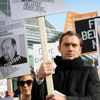 Actor Jude Law attends a march to highlight the need for free speech in Belarus