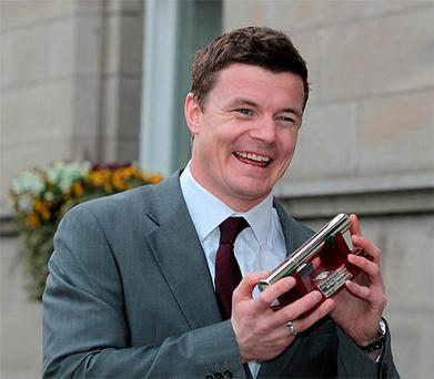 Brian O'Driscoll after receiving his civic award in Dun Laoghaire last night. Photo: Arthur Carron/ Collins