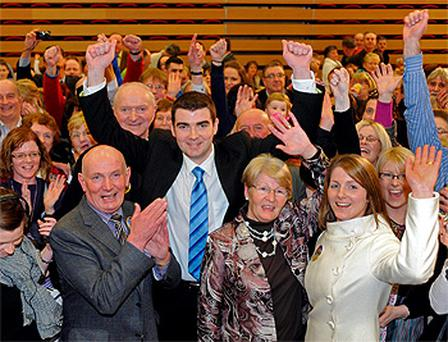Brendan Griffin with his wife Roisin and parents Michael and Betty after topping the poll in Kerry South