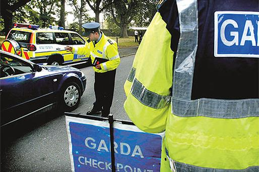 Members of the Garda Dublin Traffic Corps enforcing seatbelt laws in the Pheonix Park