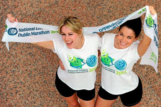 Jenny Lee Masterson, left, and Michele McGrath at the announcement that the National Lottery are to be the sponsors for the Dublin Marathon which takes place on Bank Holiday Monday, October 31. Photo: Ray McManus / Sportsfile