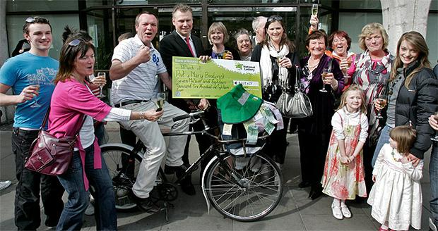 Pat Broderick, of Kinsale, Co Cork, collected his €7,018,618 Lotto winnings in Dublin yesterday