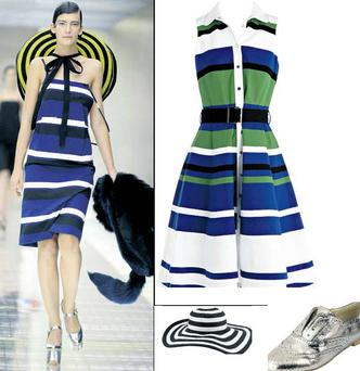 Striped dress, €240 at Karen Millen; Sombrero, €9.99 at New Look; Brogue, €35 at Marks & Spencer