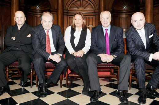 AND IF ALL ELSE FAILS: There's help out there from the Dragons, from left, Sean Gallagher, Gavin Duffy, Norah Casey, Bobby Kerr and Niall O'Farrell. Photo: Paul Sharp
