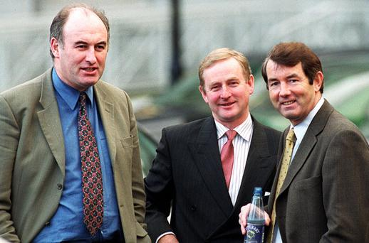 FAMILY ALBUM: Phil Hogan, left, Enda Kenny, centre, and Michael Lowry outside Leinster House in 2000. Phil Hogan said last week that Fine Gael had 'cut him [Lowry] loose' more than a decade ago. Photo: Tom Burke
