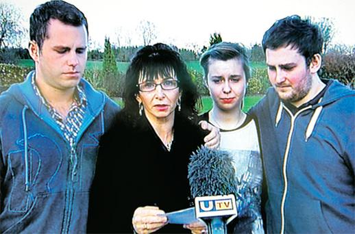 Ronan Kerr's mum Nuala makes an appeal last night with her sons and daughter Cathair, Dairine and Aaron